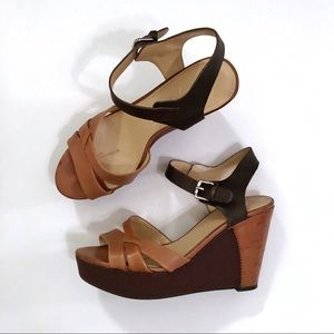 Marc Fisher Shoes - Marc Fisher brown leather wedge sandals heels